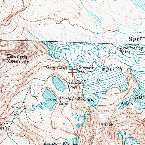 Topographic Map of Comeau Pass, MT