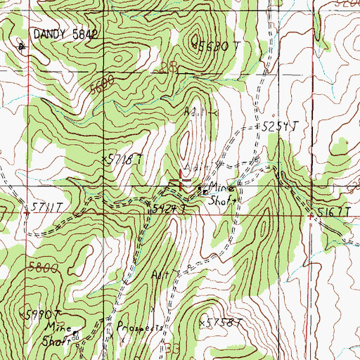 Topographic Map of Dandy Mine, MT