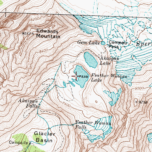 Topographic Map of Feather Woman Lake, MT