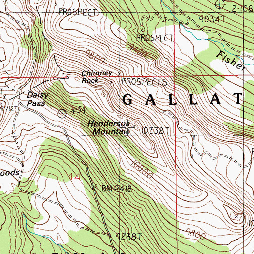 Topographic Map of Henderson Mountain, MT