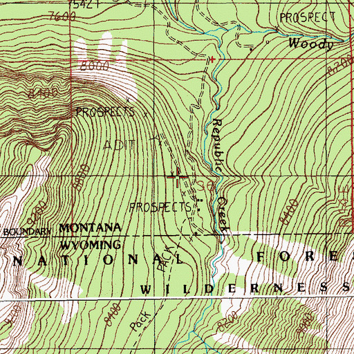 Topographic Map of Irma Mines, MT