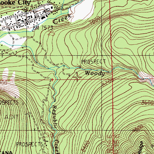 Topographic Map of Mohawk Mine, MT