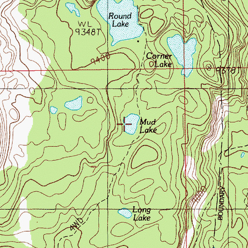 Topographic Map of Mud Lake, MT