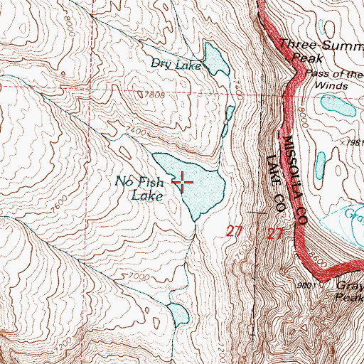 Topographic Map of No Fish Lake, MT