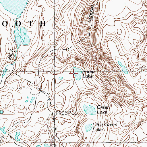 Topographic Map of Snow Lake, MT
