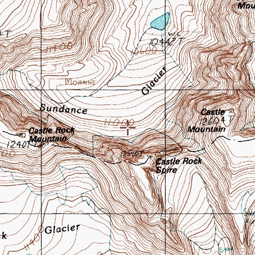 Topographic Map of Sundance Glacier, MT
