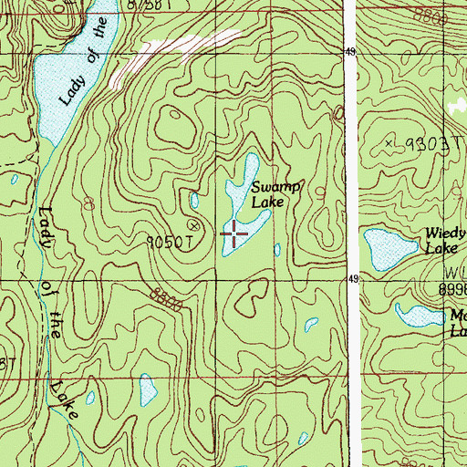 Topographic Map of Swamp Lake, MT