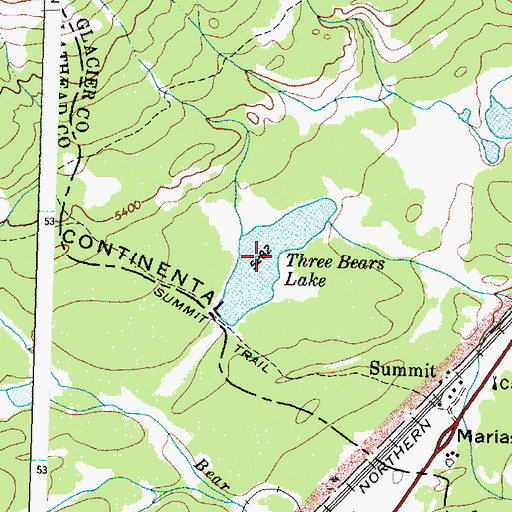 Topographic Map of Three Bears Lake, MT