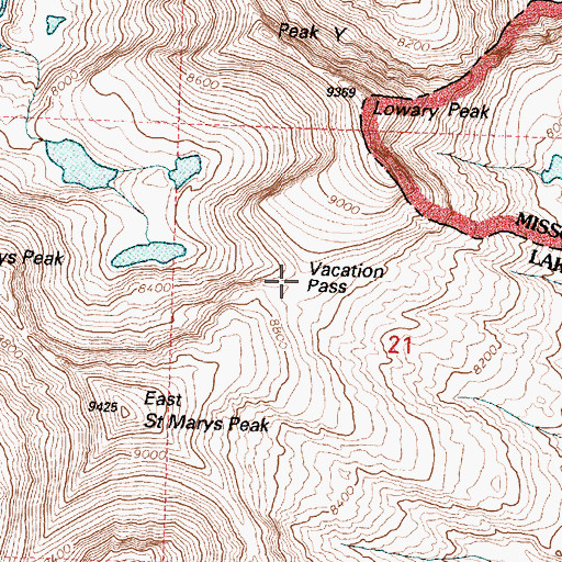 Topographic Map of Vacation Pass, MT