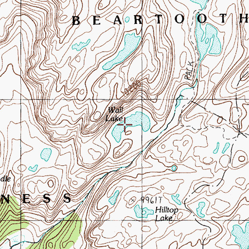 Topographic Map of Wall Lake, MT