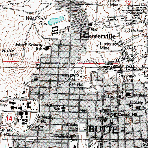 Topographic Map of Anselmo Mine, MT