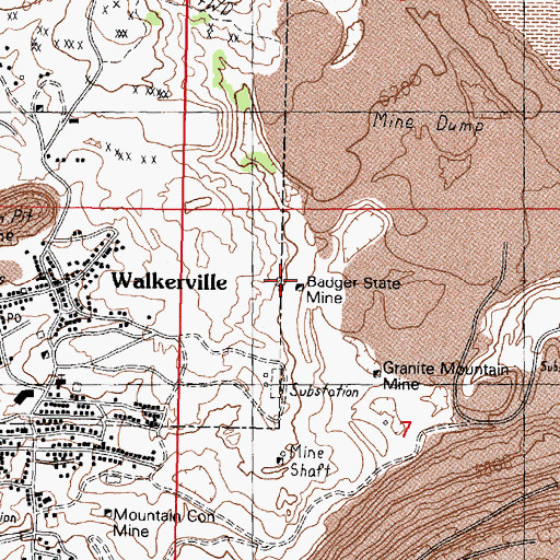 Topographic Map of Badger State Mine, MT