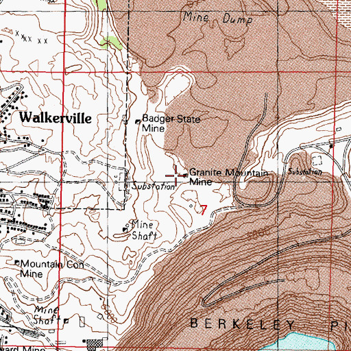 Topographic Map of Granite Mountain Mine, MT