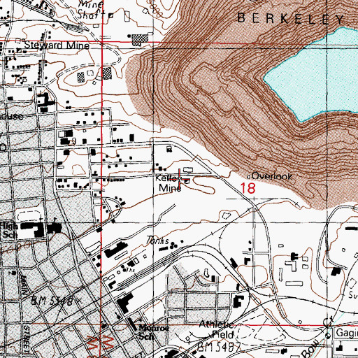 Topographic Map of Belmont Mine, MT