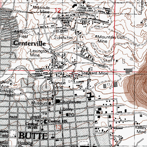 Topographic Map of Steward Mine, MT