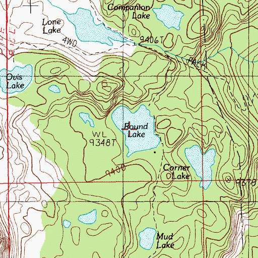 Topographic Map of Round Lake, MT