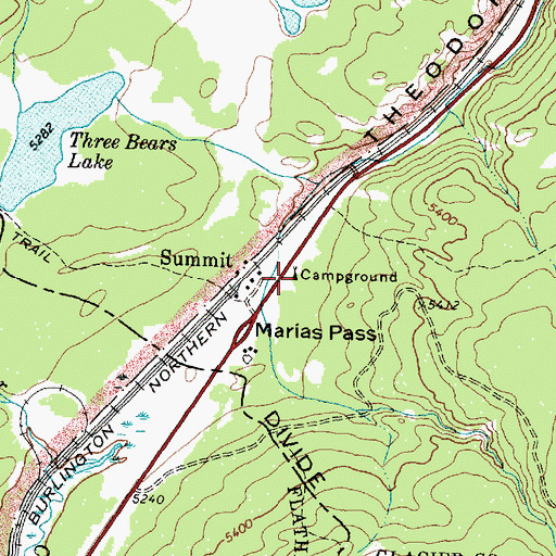Topographic Map of Summit Campground, MT