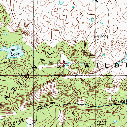 Topographic Map of Star Dust Lake, MT