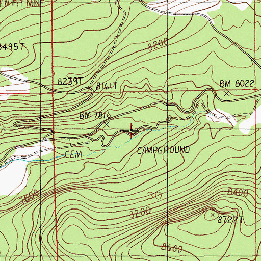 Topographic Map of Soda Butte Campground, MT