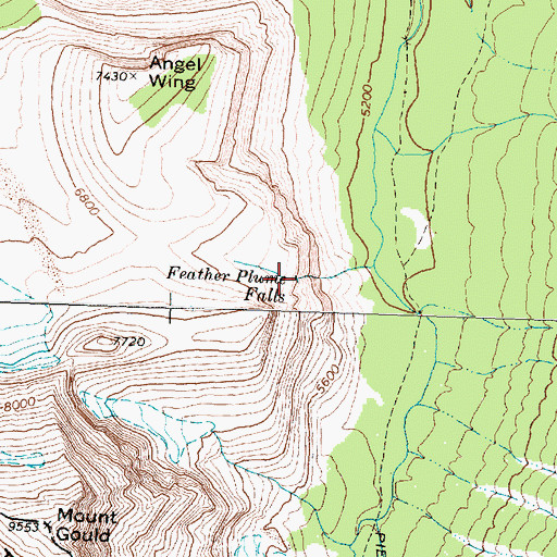 Topographic Map of Feather Plume Falls, MT