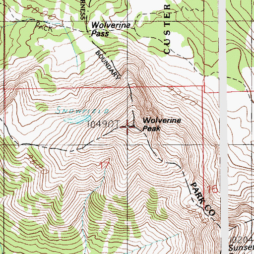 Topographic Map of Wolverine Peak, MT