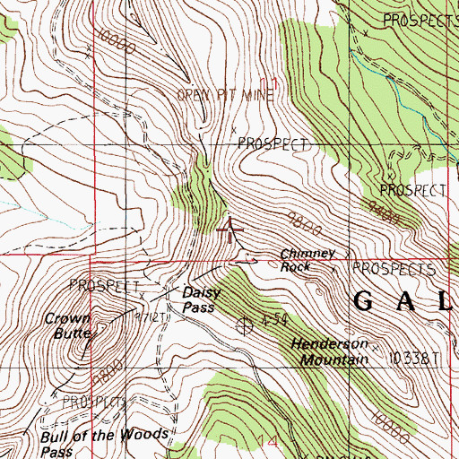 Topographic Map of Kingfisher Mine, MT