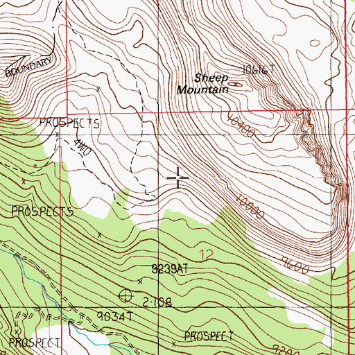 Topographic Map of Sheep Mountain Shaft, MT