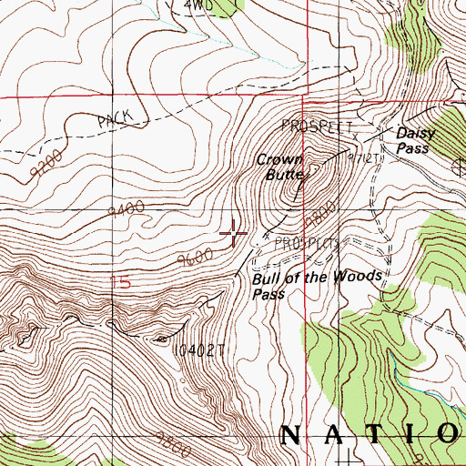 Topographic Map of Upper Black Warrior Mine, MT