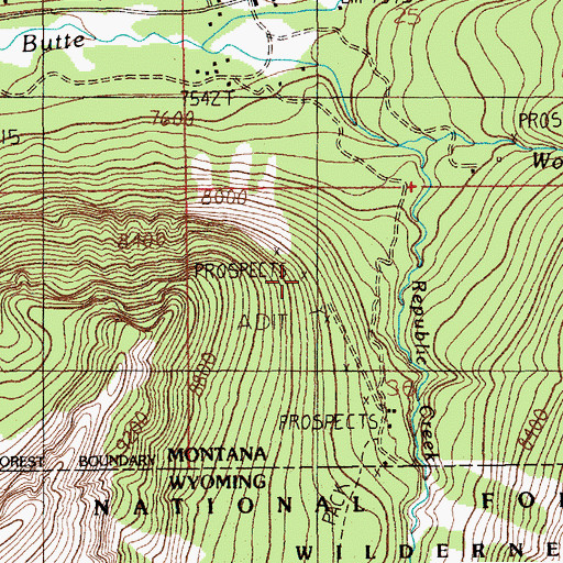 Topographic Map of Erma Number 1 Mine, MT