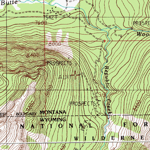 Topographic Map of Erma Number 2 Mine, MT
