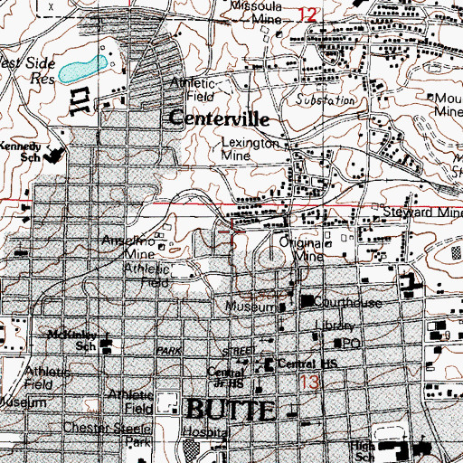 Topographic Map of West Gagnon Mine, MT