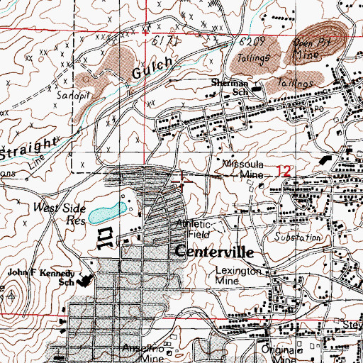 Topographic Map of Missoula, MT