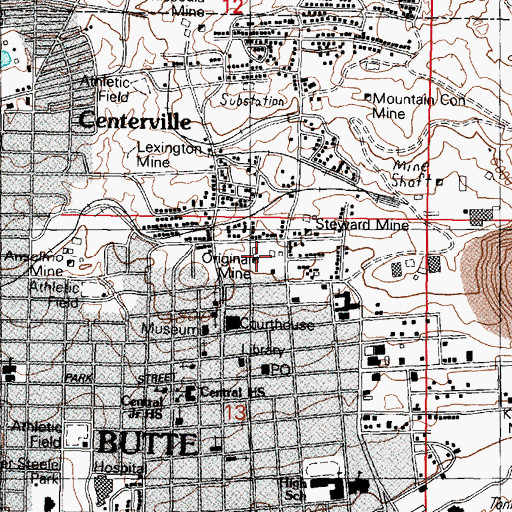 Topographic Map of Original Mine, MT