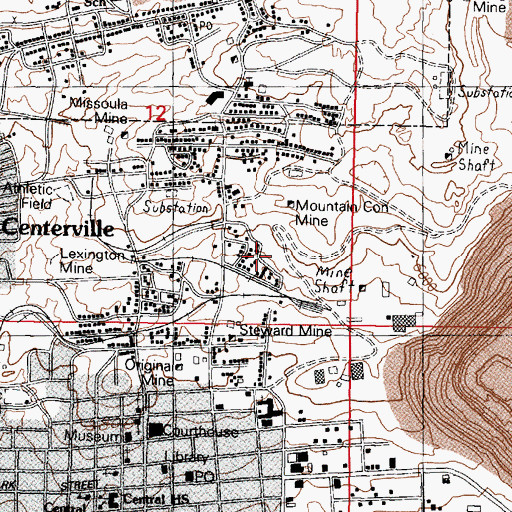 Topographic Map of Little Mina Mine, MT