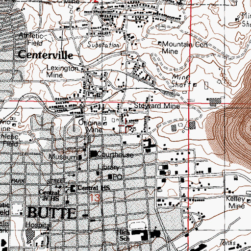 Topographic Map of Benham Mine, MT