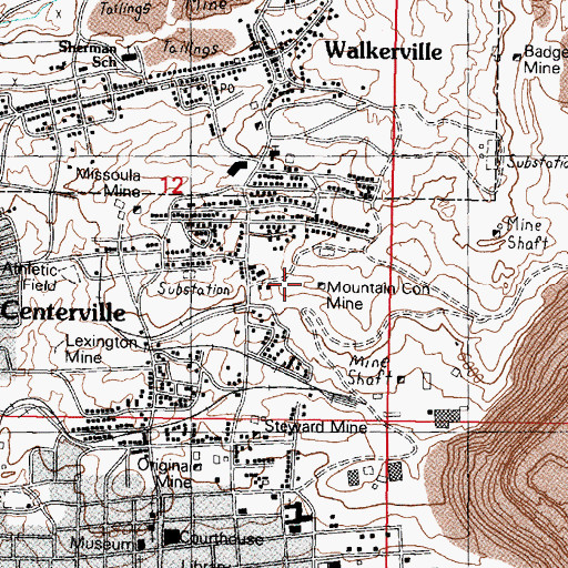 Topographic Map of Mountain Consolidated Number 1 Mine, MT