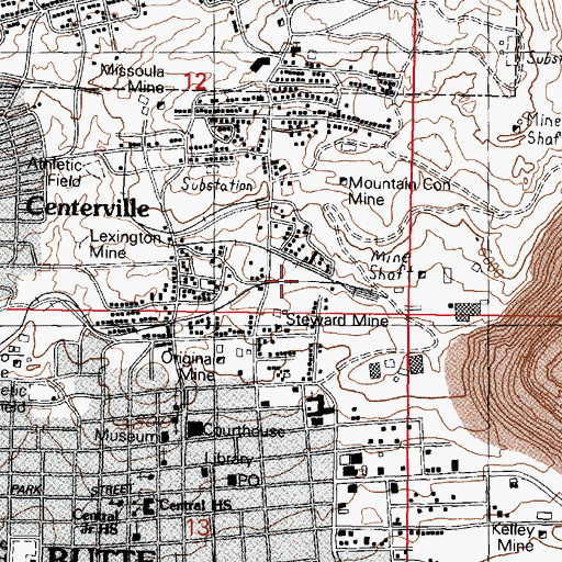 Topographic Map of Clear Grit Mine, MT