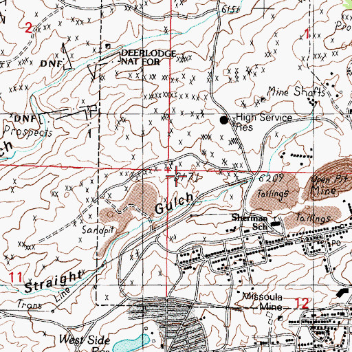 Topographic Map of Goldsmith, MT