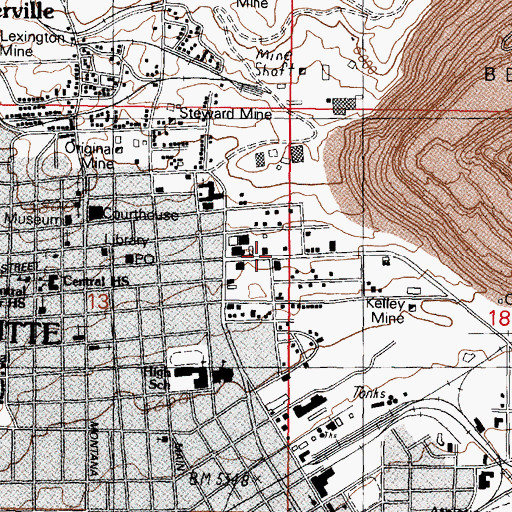 Topographic Map of Davis-Daly Shaft, MT
