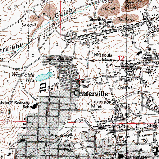 Topographic Map of Missoula Number 2 Mine, MT