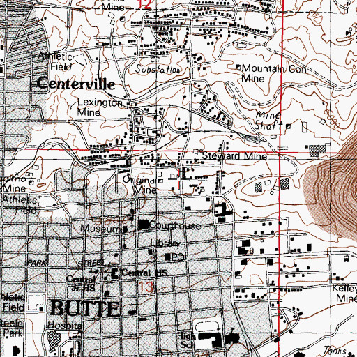 Topographic Map of 21 East Gagnon Street Mine, MT