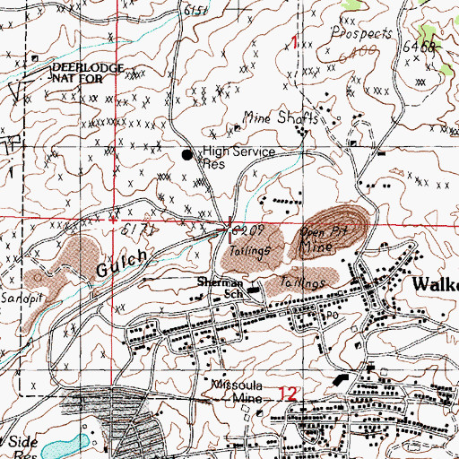 Topographic Map of 1706 North Main Street Mine, MT