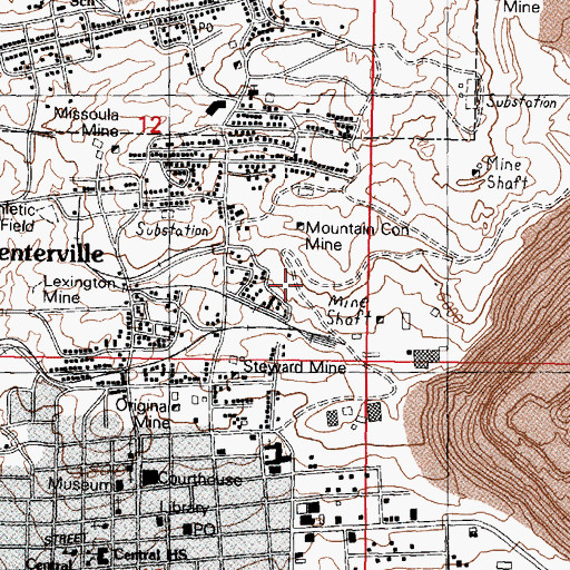 Topographic Map of East Little Mina Mine, MT