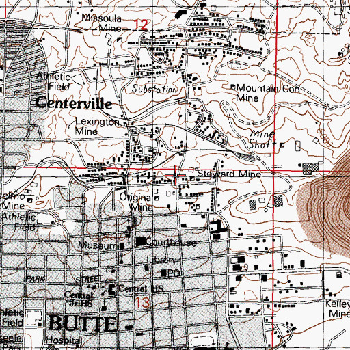 Topographic Map of West Steward Mine, MT