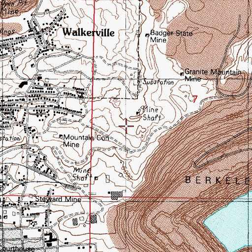 Topographic Map of Wake Up Jim Mine, MT