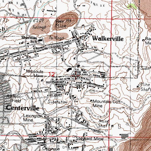 Topographic Map of 43 West La Plata Street Mine, MT