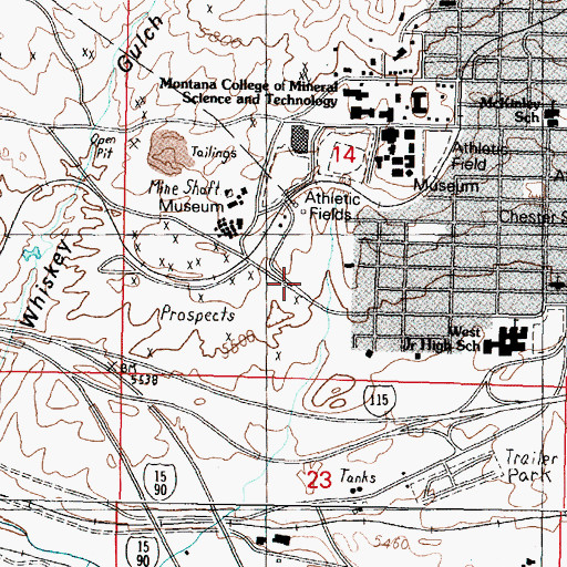 Topographic Map of Elba Number 1 and 2 Mine, MT