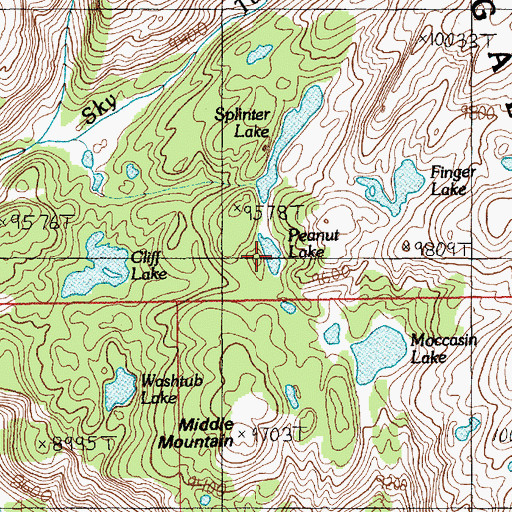 Topographic Map of Peanut Lake, MT