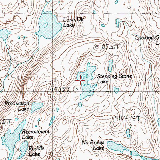 Topographic Map of Stepping Stone Lake, MT