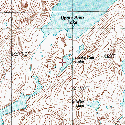 Topographic Map of Leaky Raft Lake, MT
